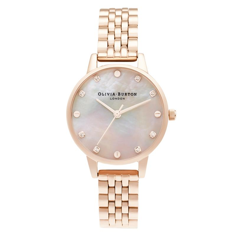 Olivia Burton Mother Of Pearl Rose Gold Watch OB16SE10