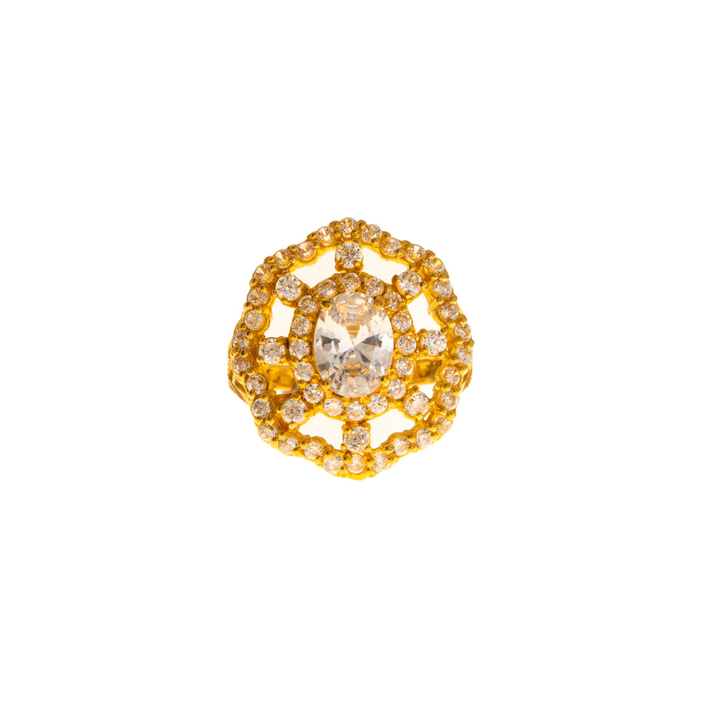 Pre-Owned Gold Zirconia Halo Open Cluster Ring
