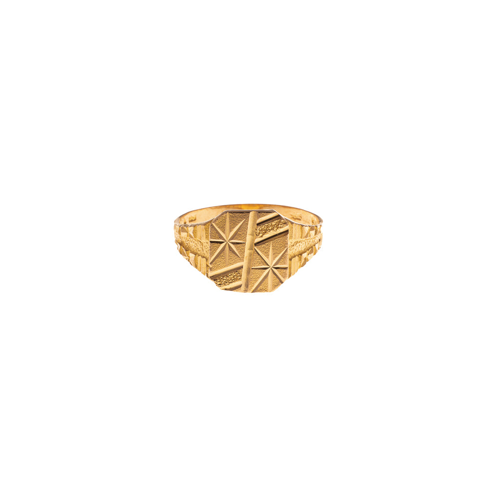 Pre-Owned Gold Star Textured Square Signet Ring