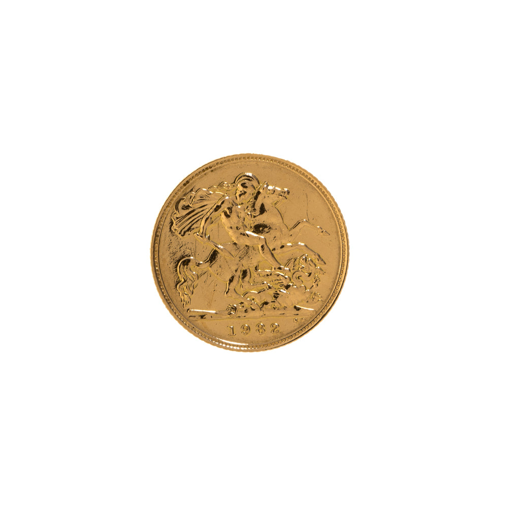 Pre-Owned 22k Gold 1982 Half Sovereign Coin