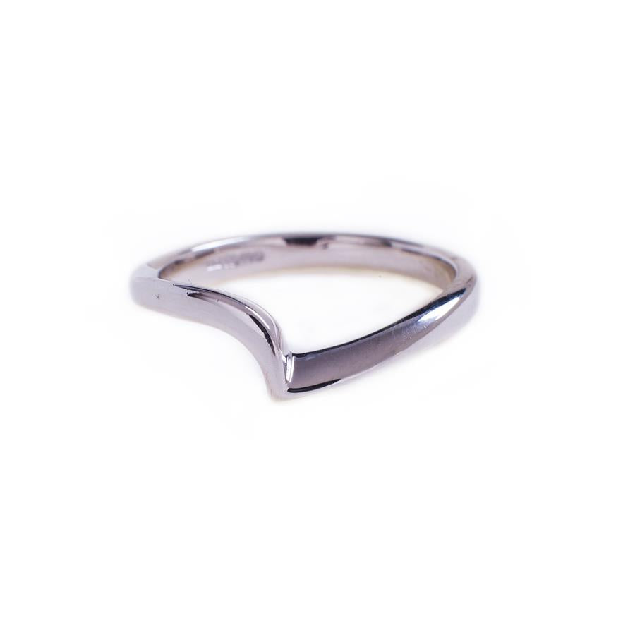 Pre-Owned 18ct White Gold Off Centre Wishbone Ring