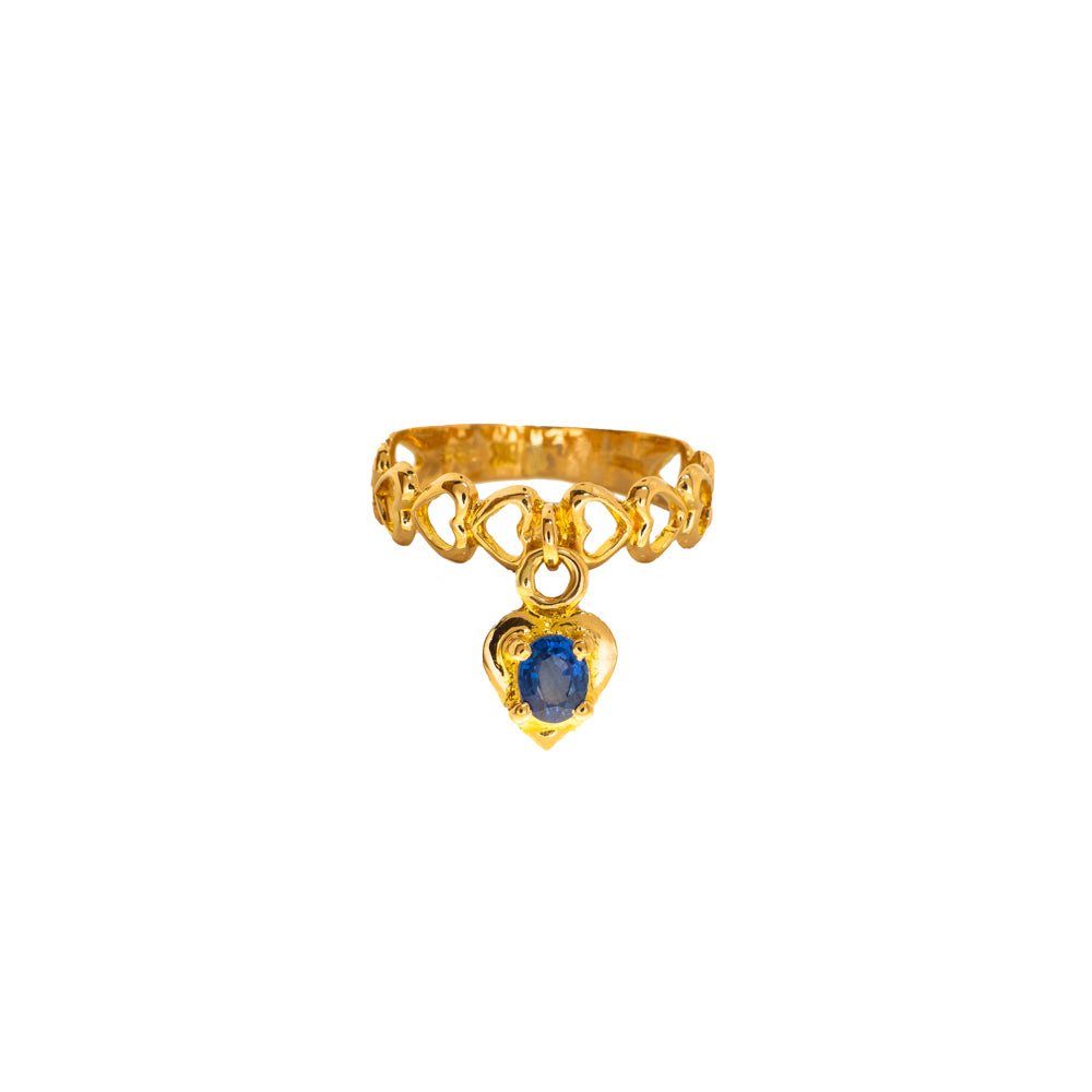 Pre-Owned Gold Open Heart Blue Stone Drop Ring