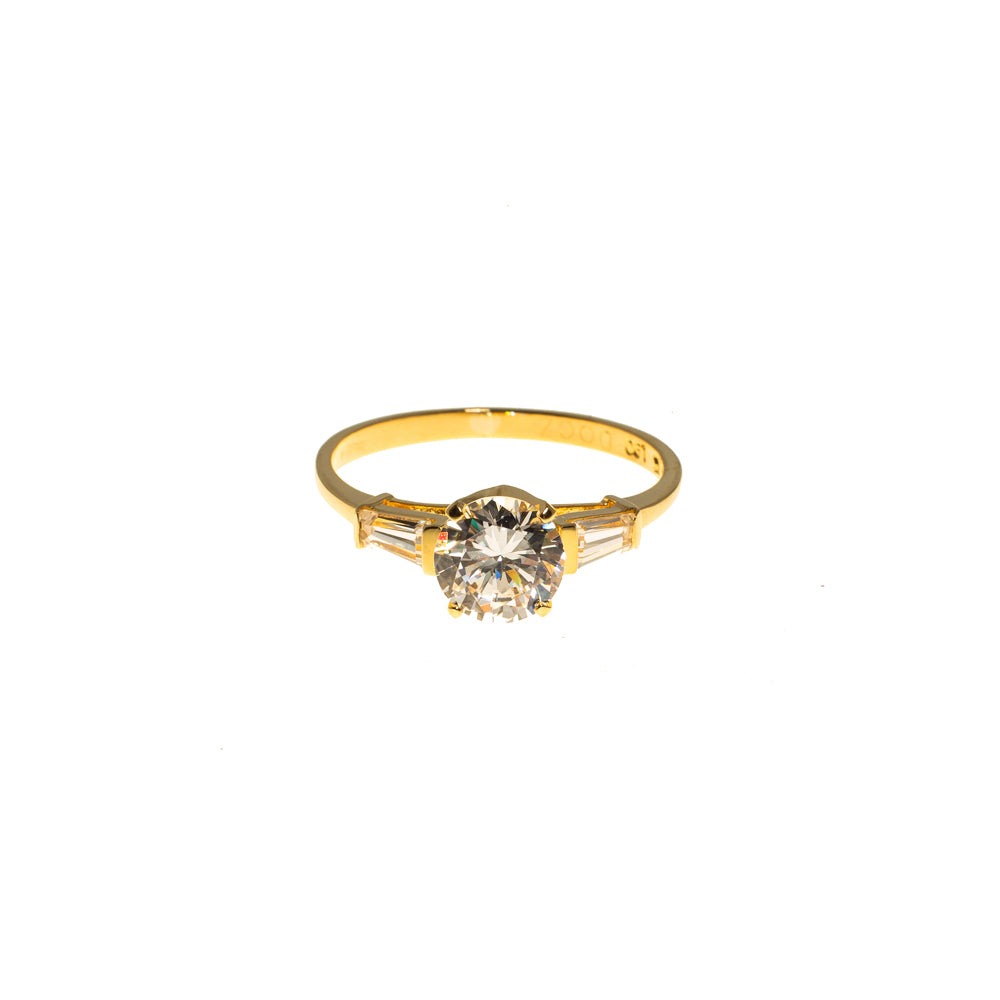 Pre-Owned 18ct Gold Round & Baguette Zirconia Ring