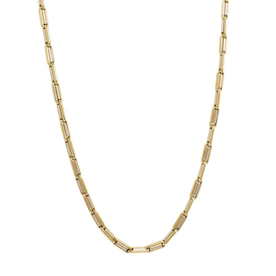 "Pre-Owned 18ct Gold 18"" Oval Tube Link Necklace"