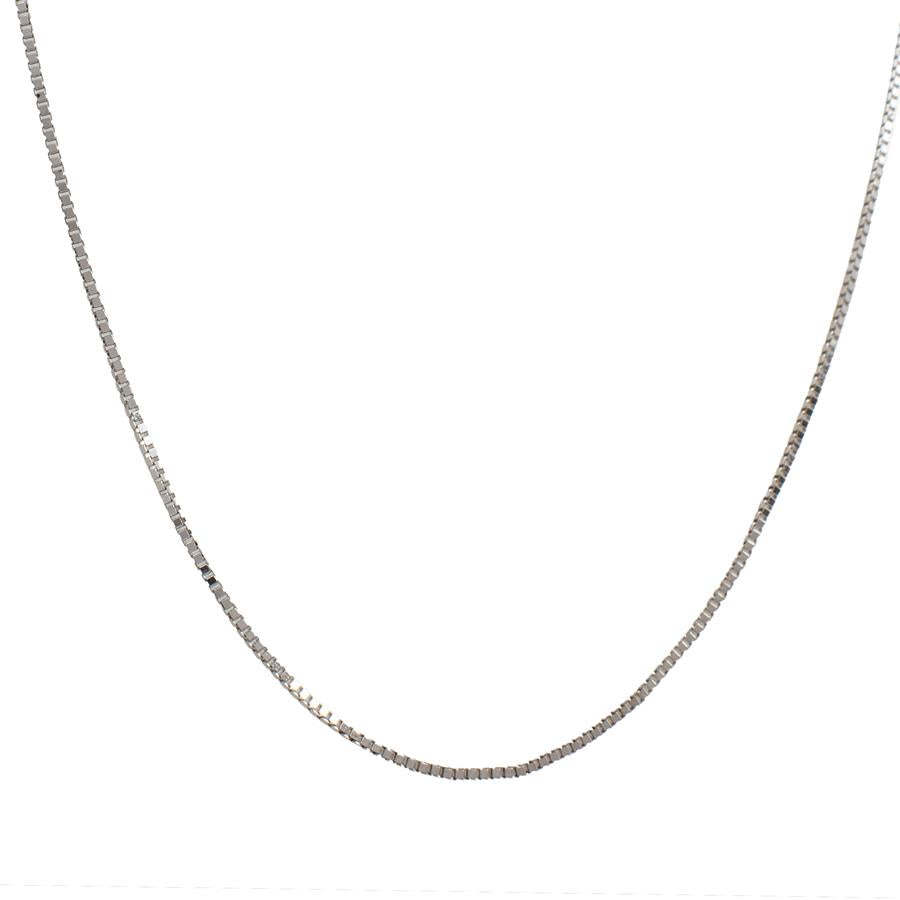 "Pre-Owned 14ct White Gold 16"" Box Link Necklace"
