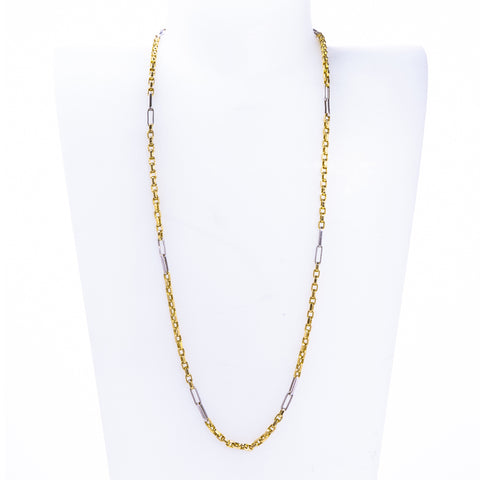 "Pre-Owned Gold 18"" Two-Tone 3mm Oval Link Necklace"
