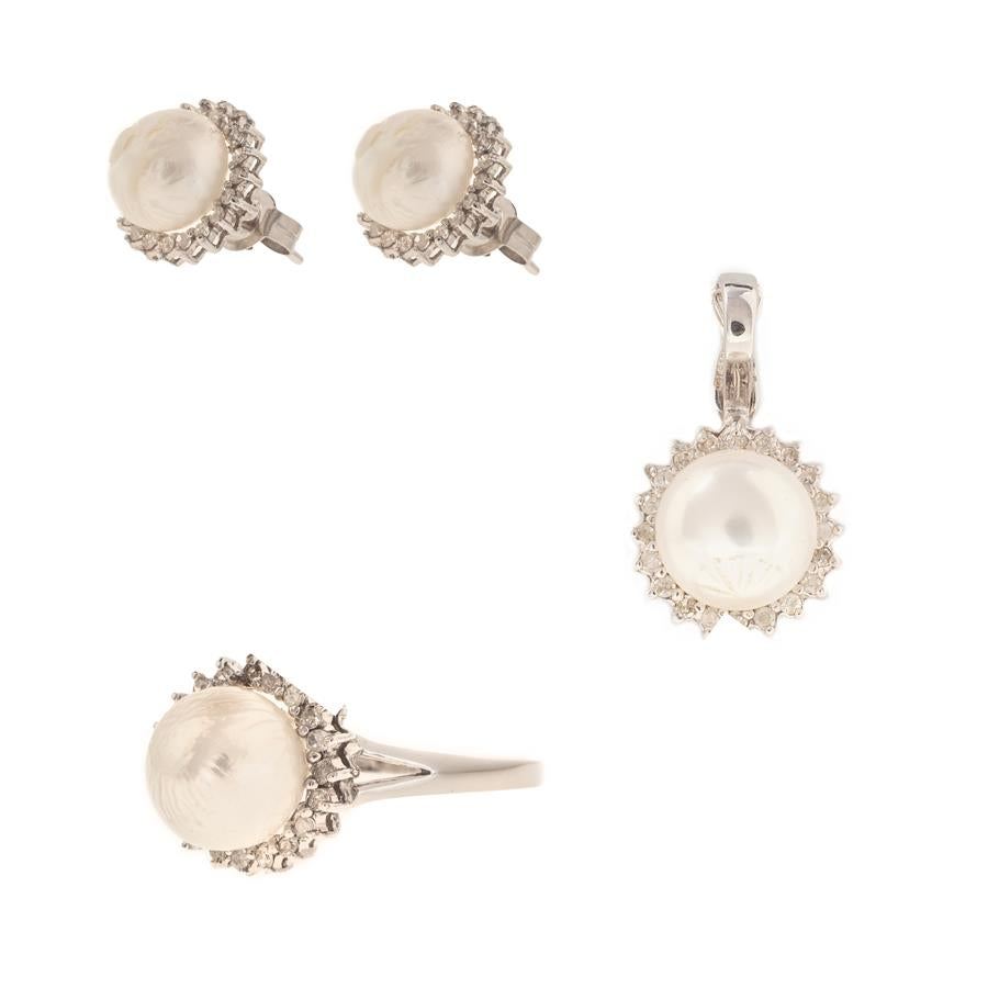 Pre-Owned Gold Pearl Ring Pendant Earring Set