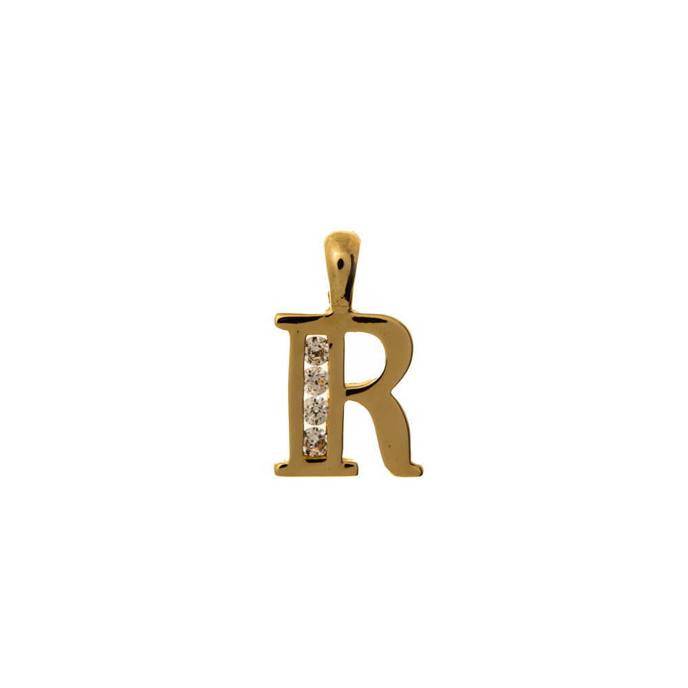 Pre-Owned Gold 4 Cubic Zirconia R Initial Pendant