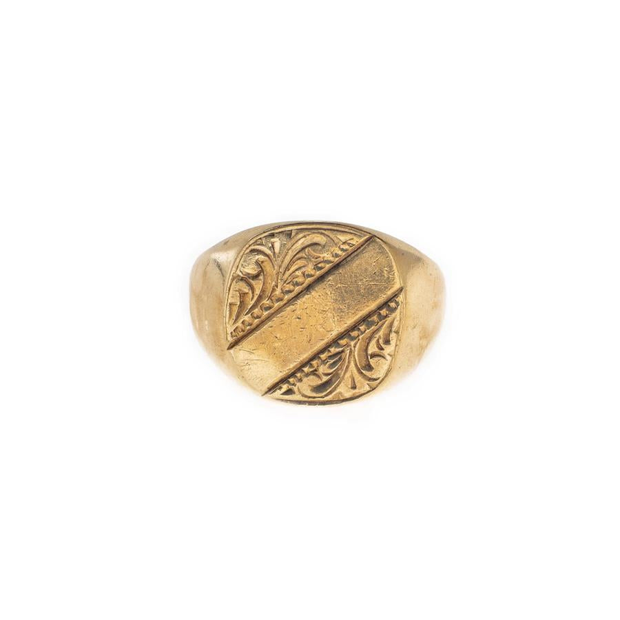 Pre-Owned 9ct Gold Plain/Swirl Square Signet Ring