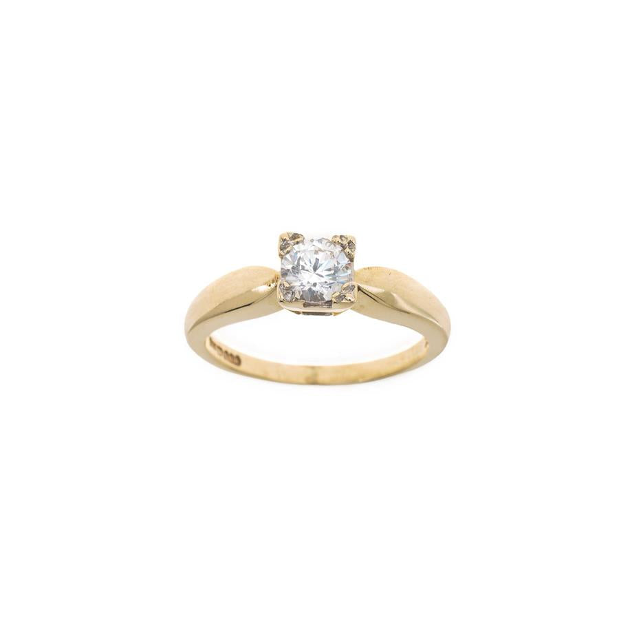 Pre-Owned Gold Solitaire Zirconia Square Claw Ring