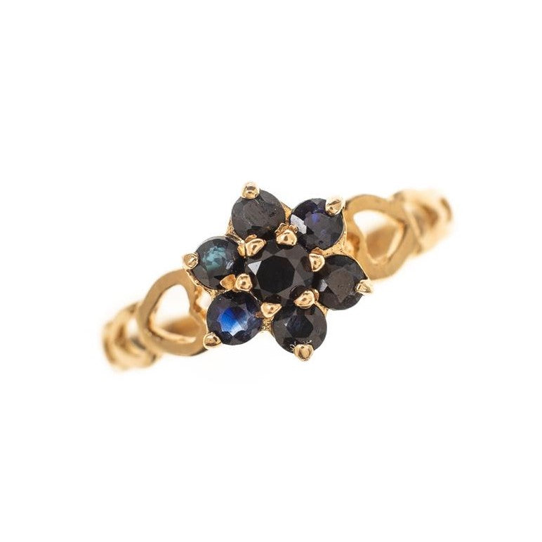 Pre-Owned 9ct Gold Sapphire Cluster Ring