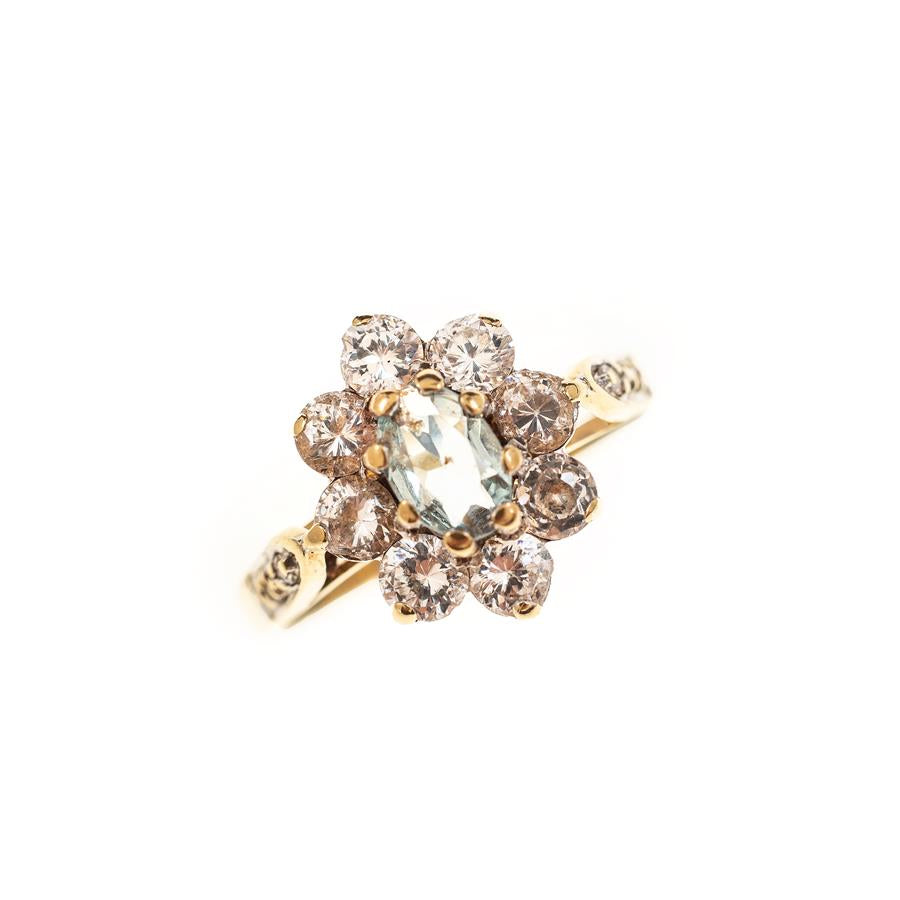 Pre-Owned 9ct Gold Blue Flower Cluster Ring