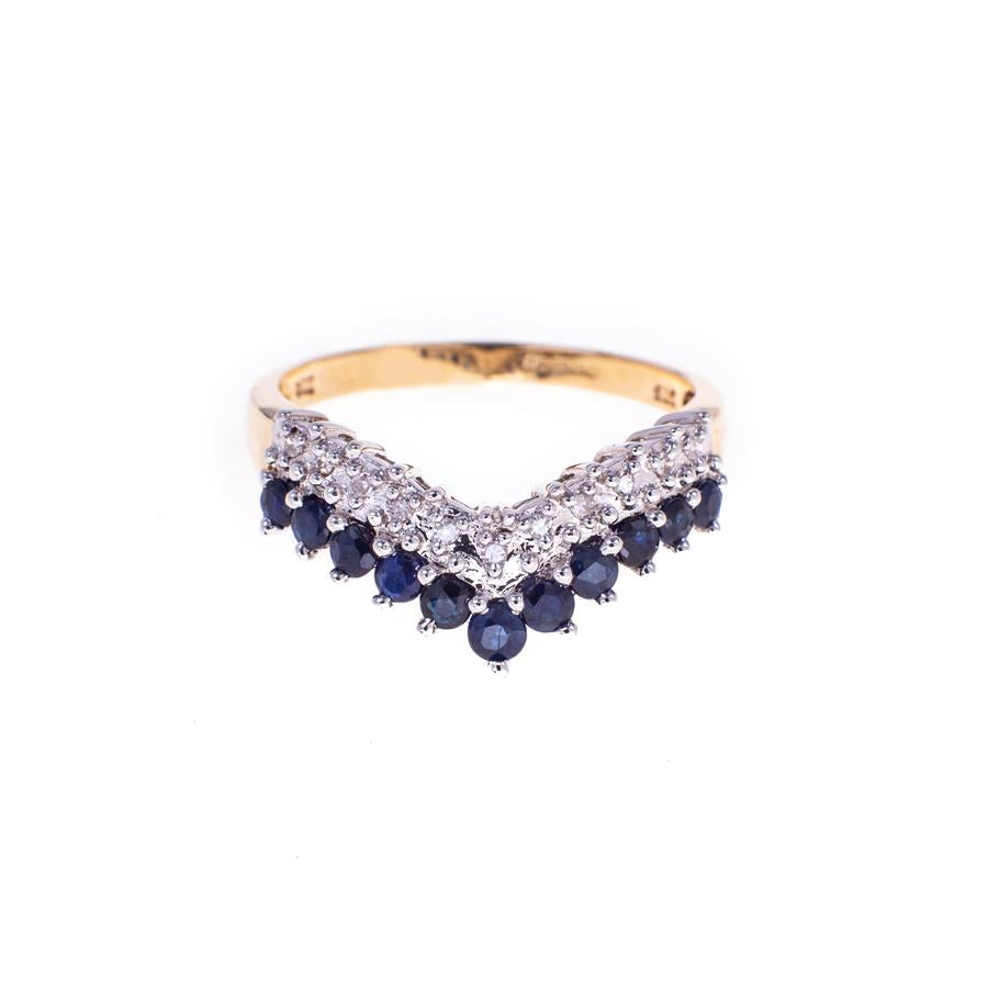 Pre-Owned 9ct Gold Diamond & Sapphire Wishbone Ring