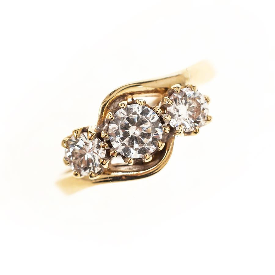 Pre-Owned 9ct Gold Cubic Zirconia Trio Ring