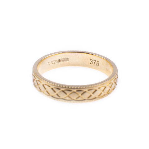 Pre-Owned 9ct Gold Twist Pattern Matte Band