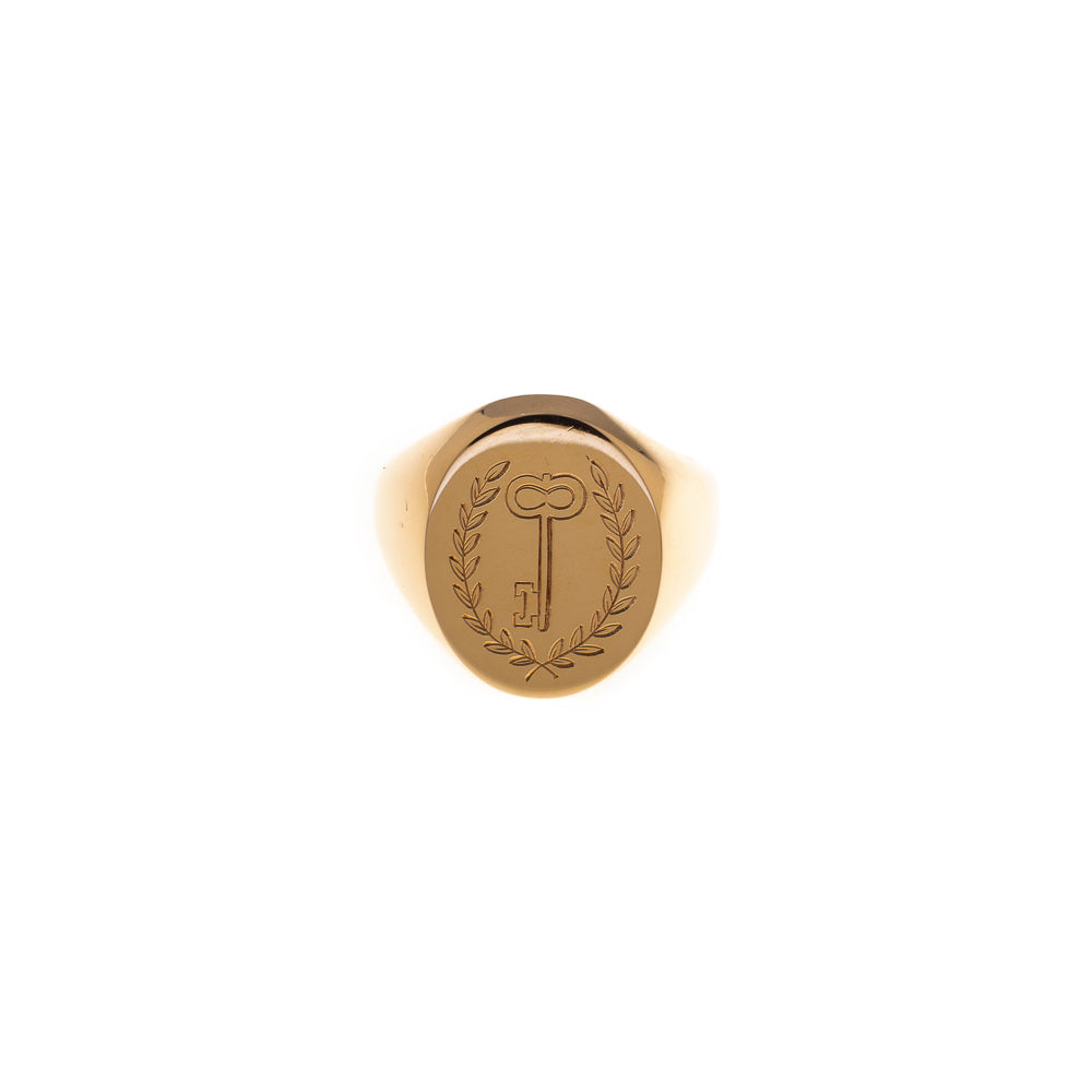 Pre-Owned Gold Oval Laurel Wreath Key Signet Ring