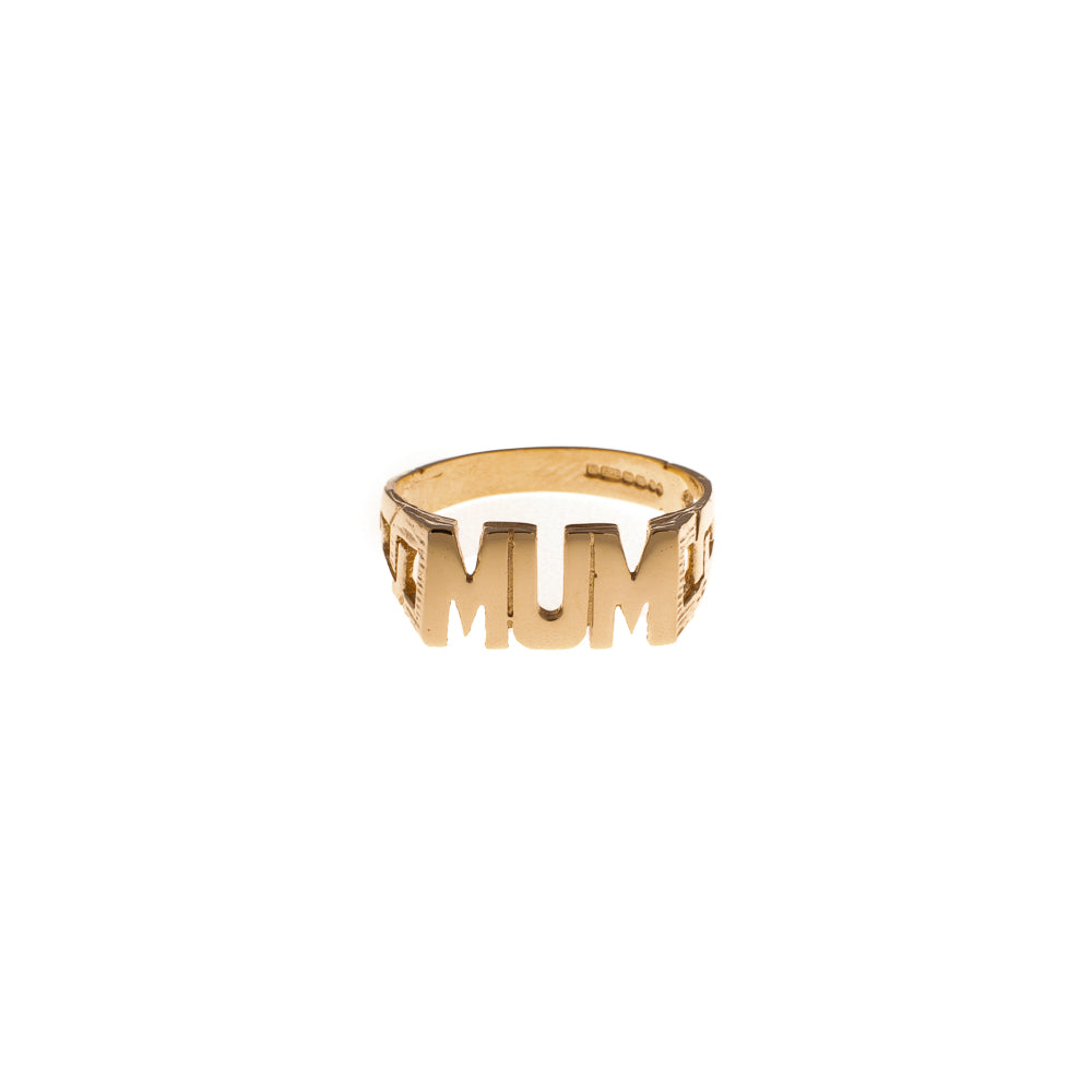 Pre-Owned 9ct Gold Mum Ring With Chain Link Sides