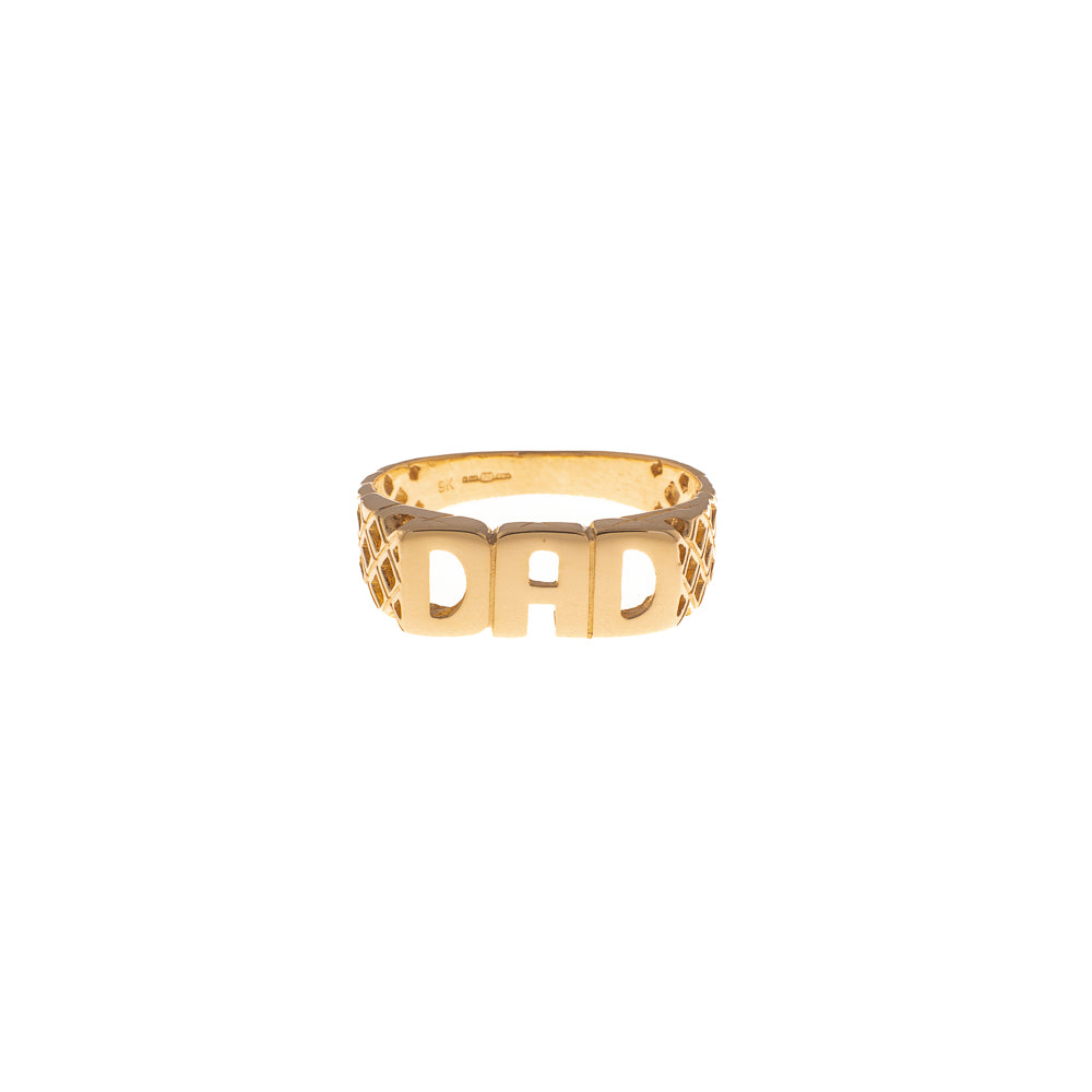 Pre-Owned 9ct Gold Dad Ring With Woven Sides
