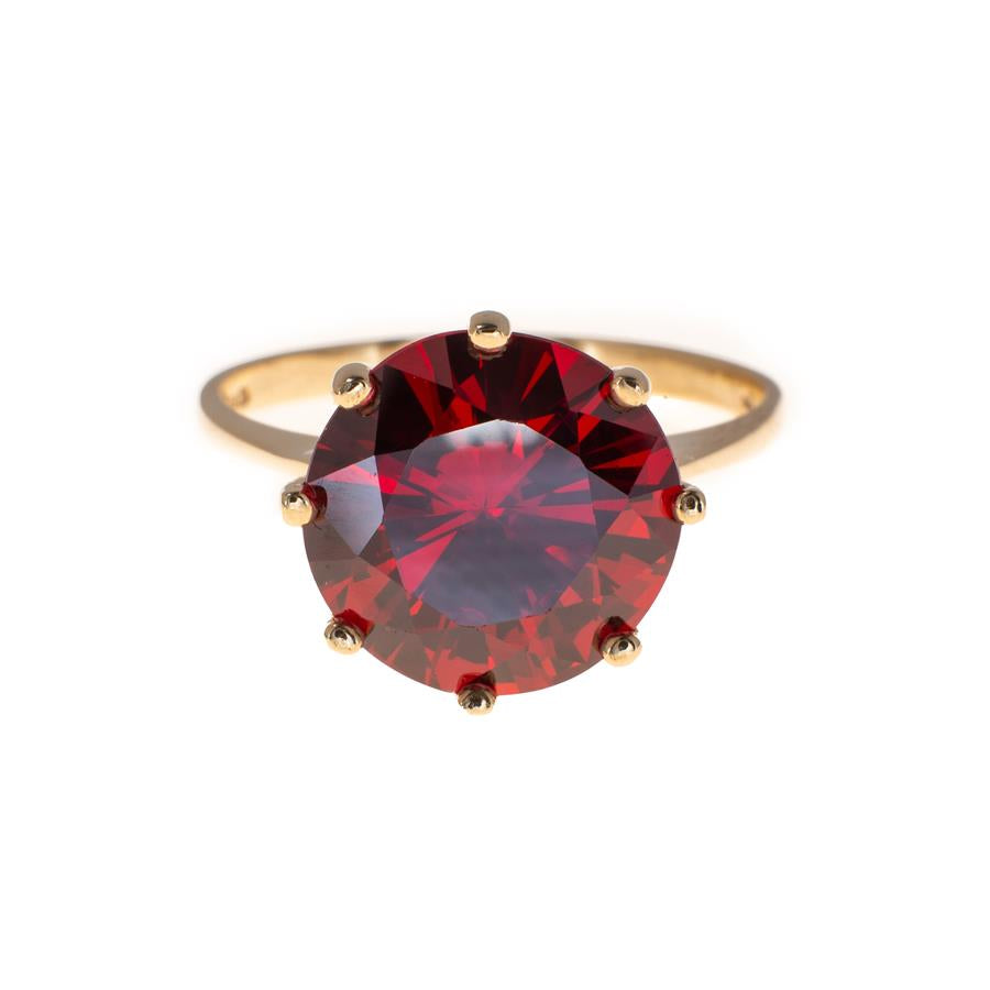 Pre-Owned 9ct Gold Red Stone Dress Ring