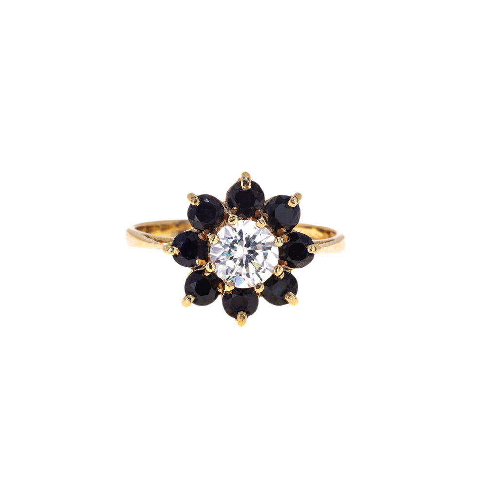 Pre-Owned Sapphire Flower Shape Gold Ring
