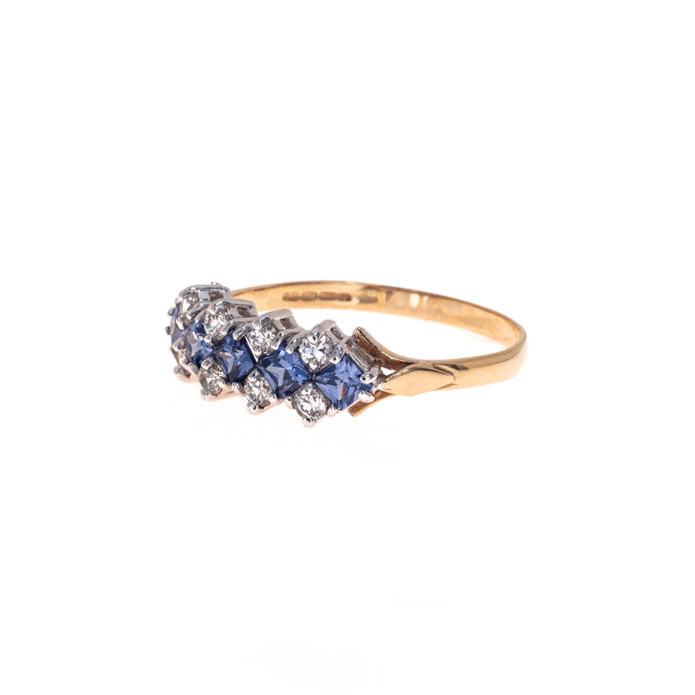 Pre-Owned 9ct Gold Blue & White Zirconia Ring