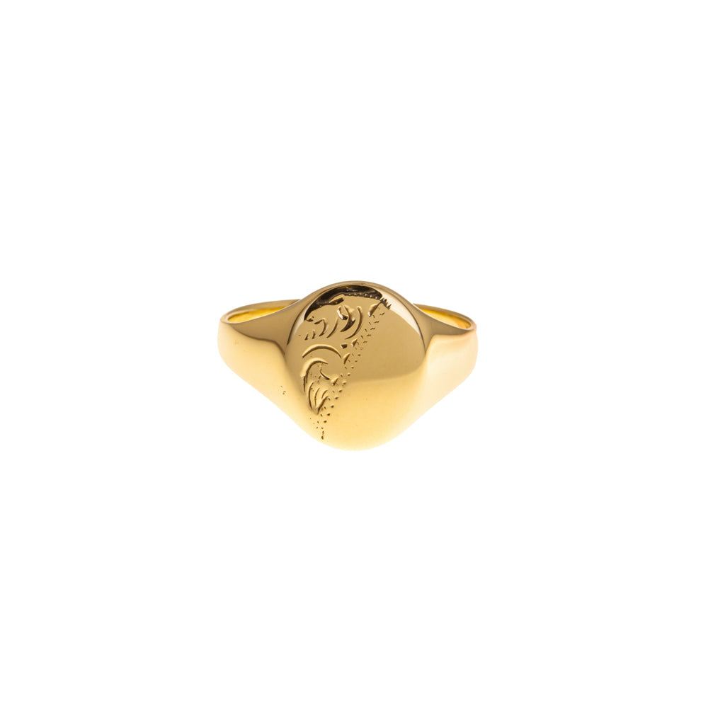Pre-Owned Gold Oval Gents Half Pattern Signet Ring