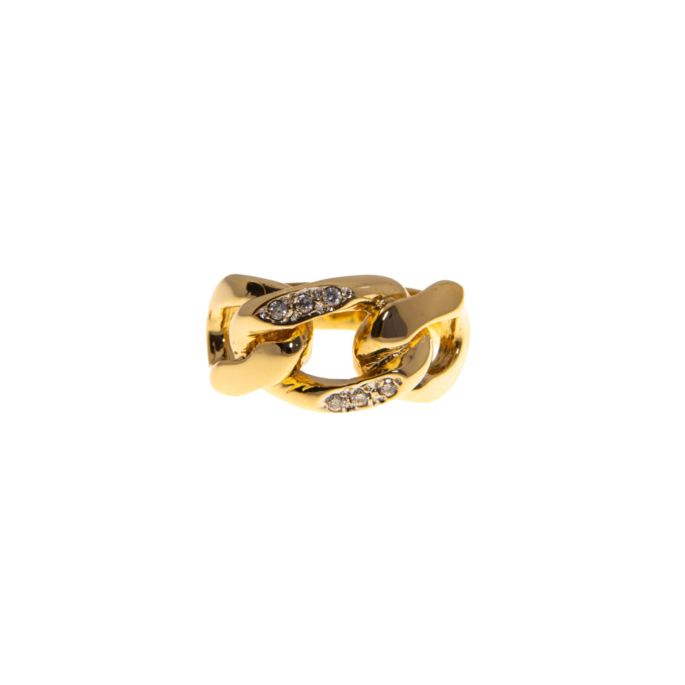 Pre-Owned Gold Gents Cubic Zirconia Curb Link Ring