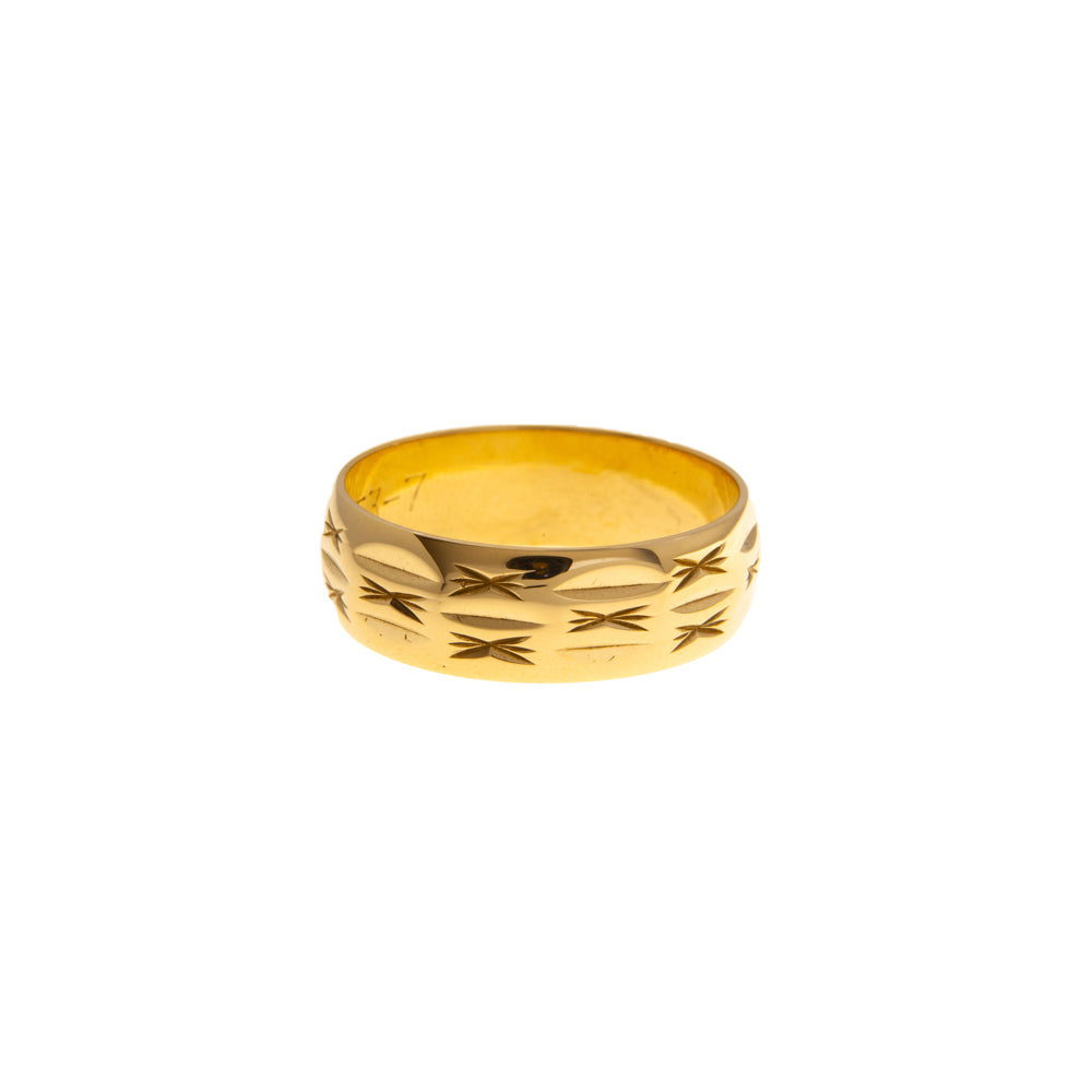 Pre-Owned 9ct Gold Star Design Band Ring