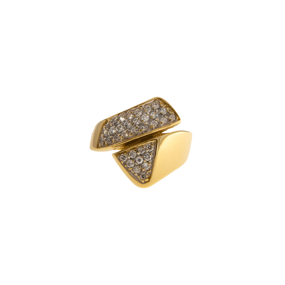 Pre-Owned Gold Zirconia Abstract Crossover Ring