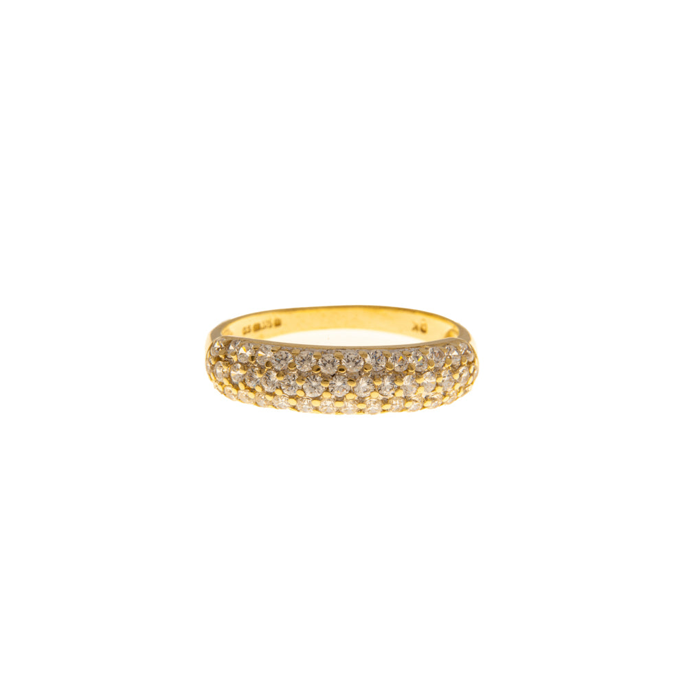 Pre-Owned Gold Curved 3 Row Cubic Zirconia Ring