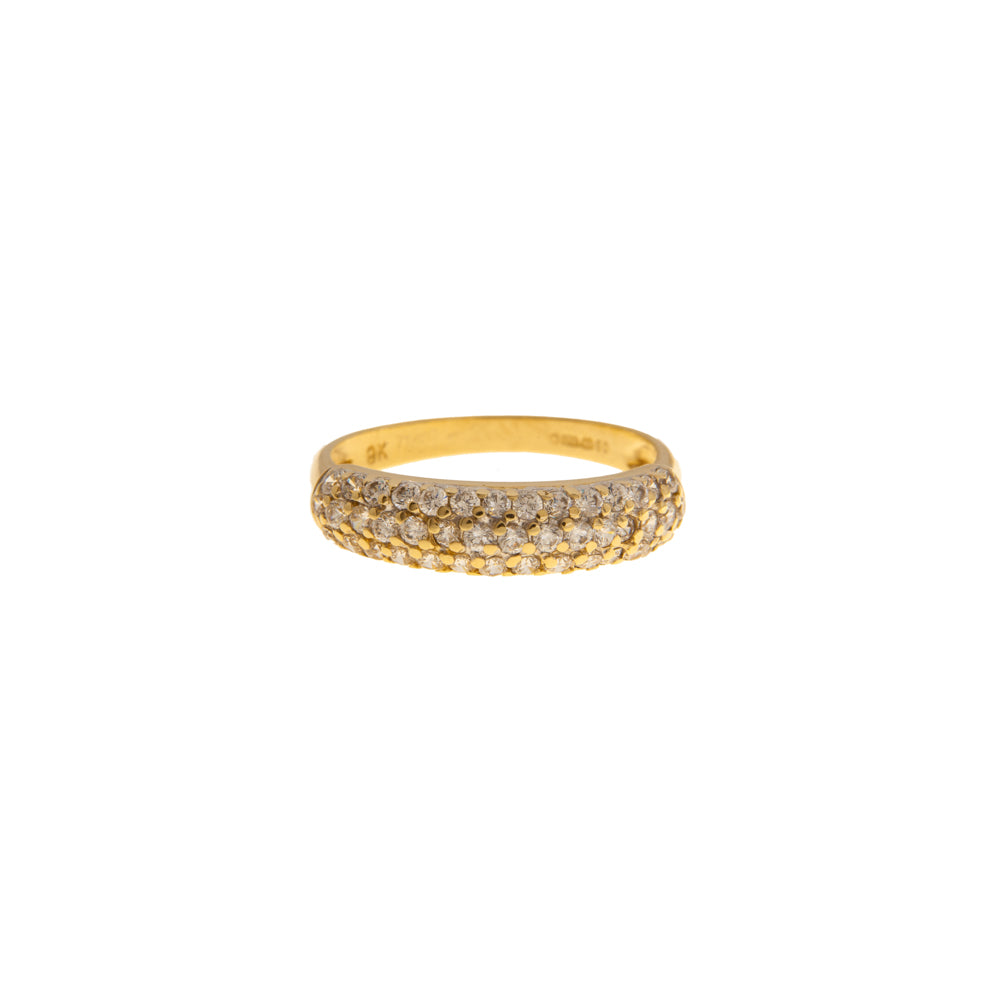 Pre-Owned 9ct Gold Curved Three Row Zirconia Ring