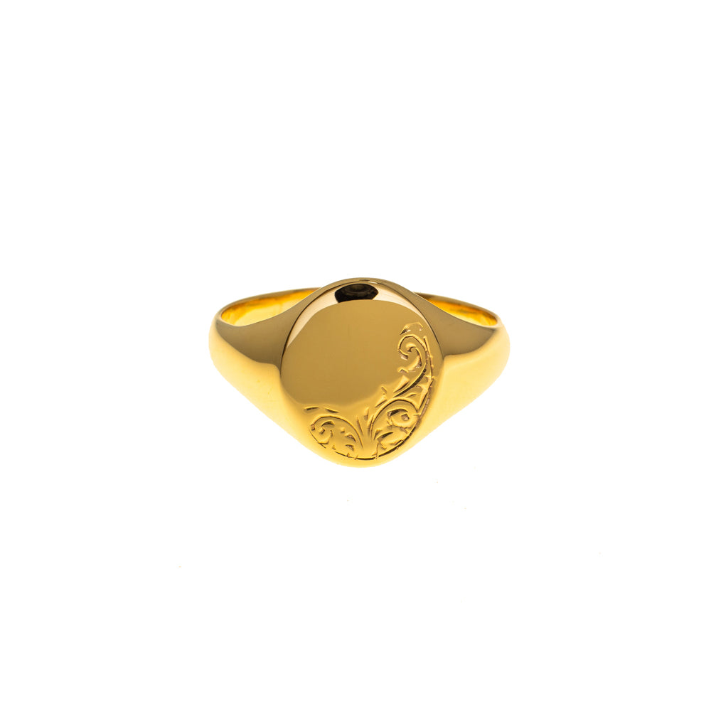 Pre-Owned 9ct Gold Oval Half Pattern Signet Ring