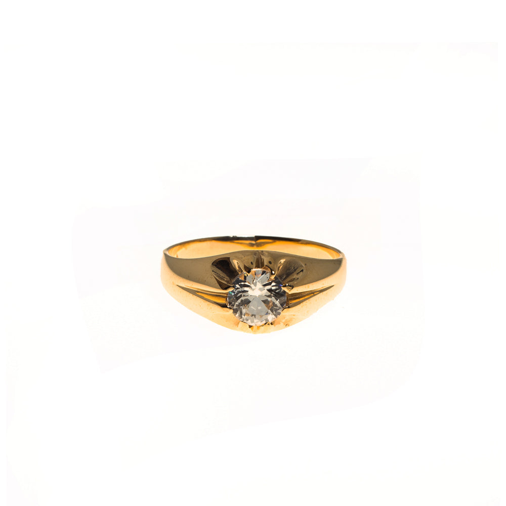 Pre-Owned 9ct Gold Gents Cubic Zirconia Gypsy Ring