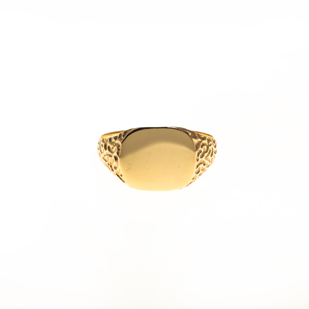 Pre-Owned 9ct Gold Curved Rectangle Signet Ring