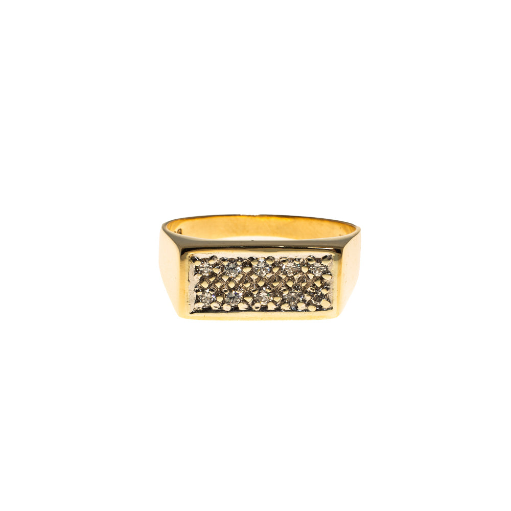 Pre-Owned Gold 2 Row Cubic Zirconia Rectangle Ring