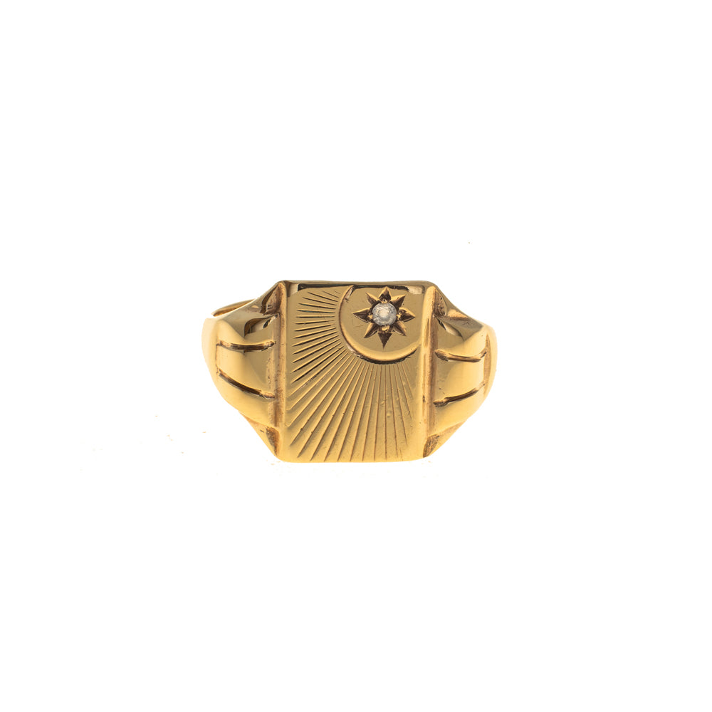 Pre-Owned Gold Rectangle Zirconia Sun Signet Ring