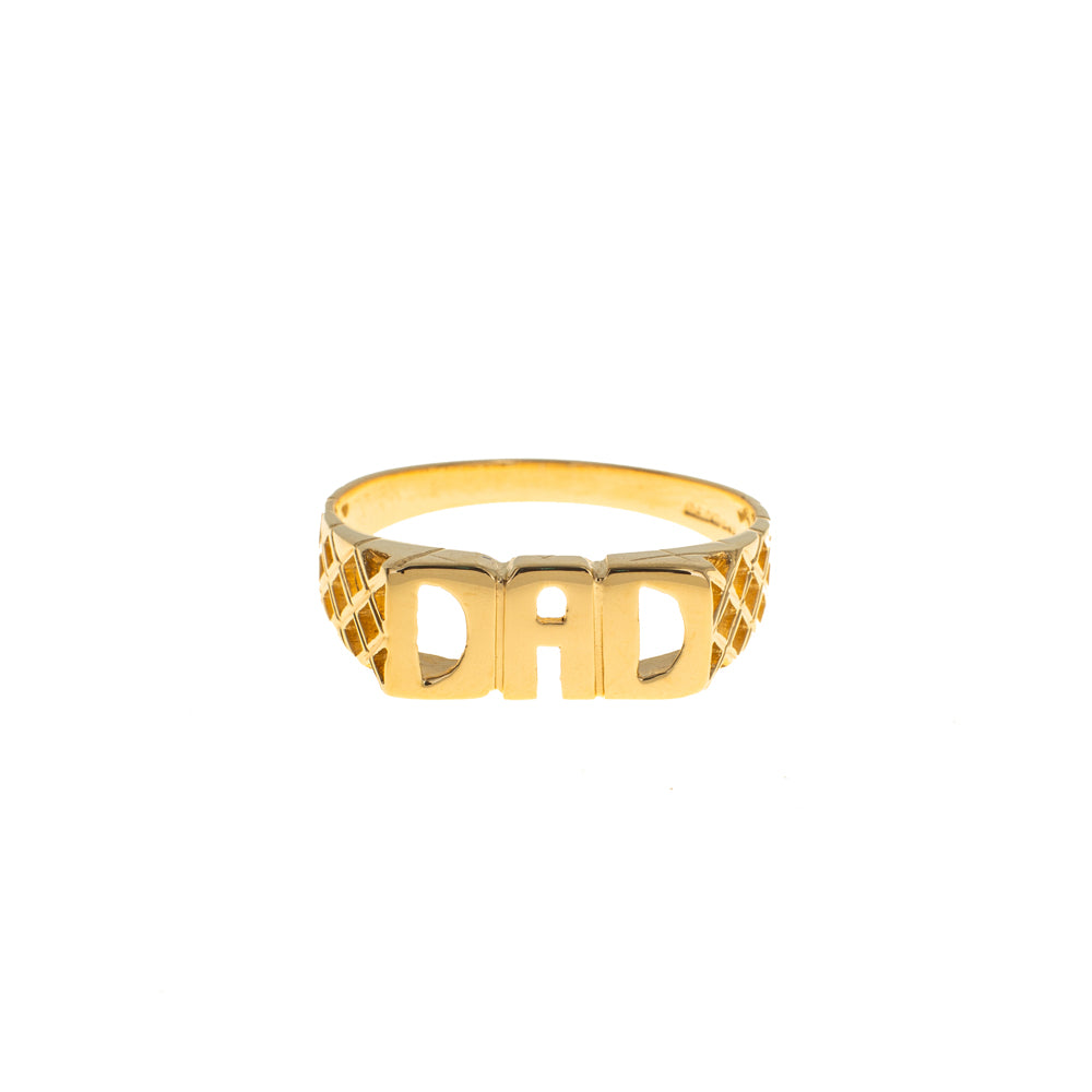 Pre-Owned 9ct Gold Dad Ring With Woven Shoulders