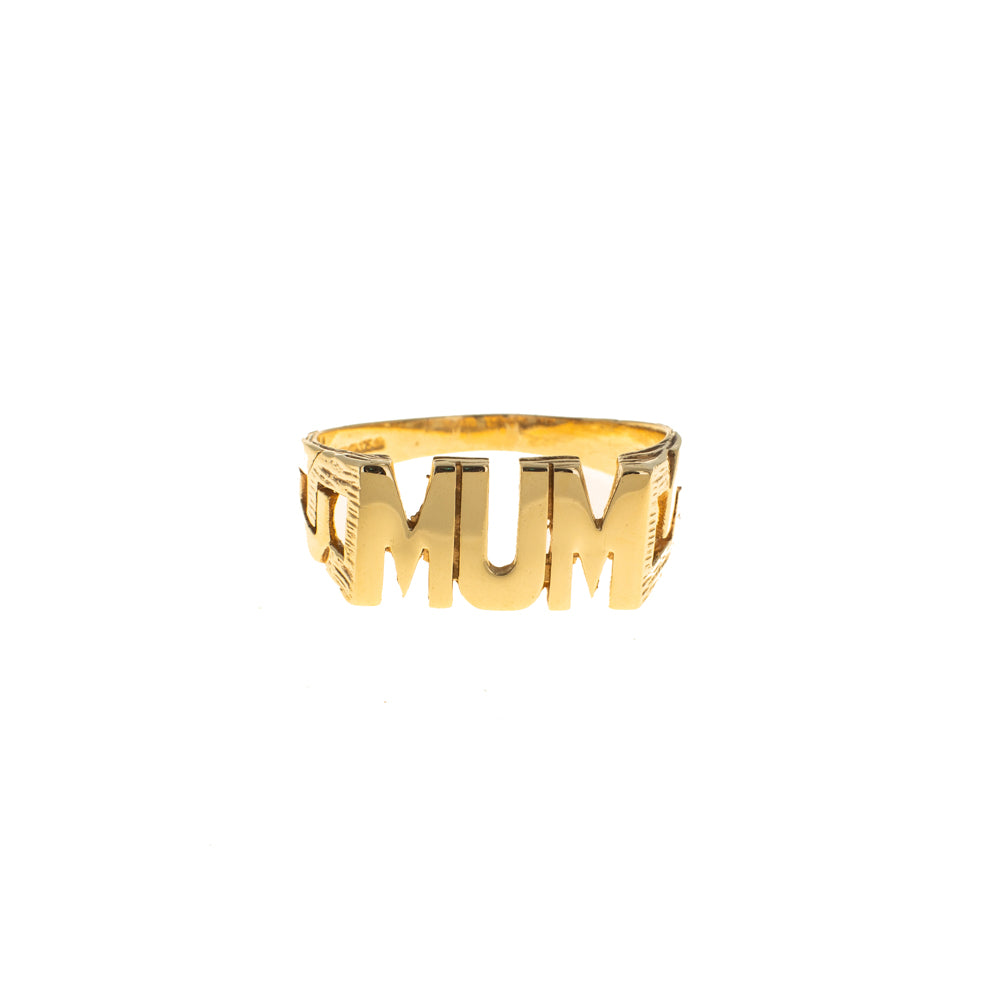 Pre-Owned 9ct Gold Mum Square Curb Link Ring