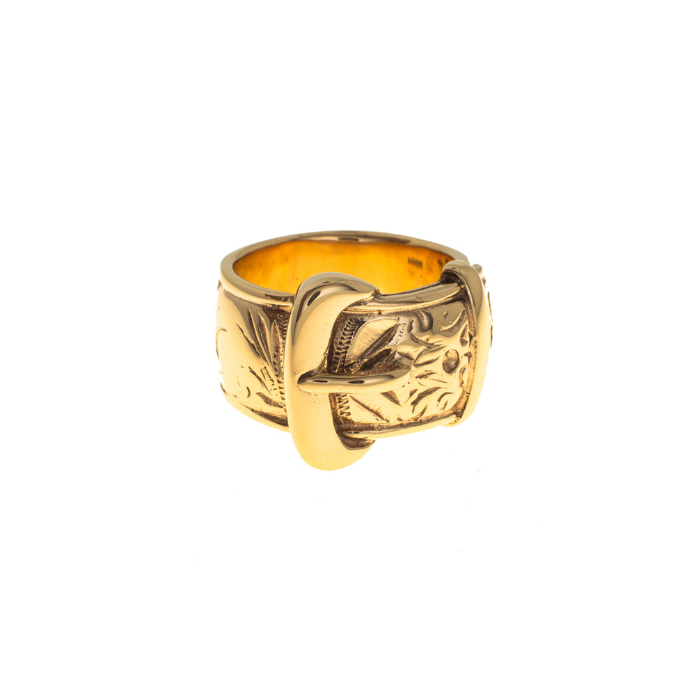 Pre-Owned 9ct Gold Gents 19mm Buckle Ring