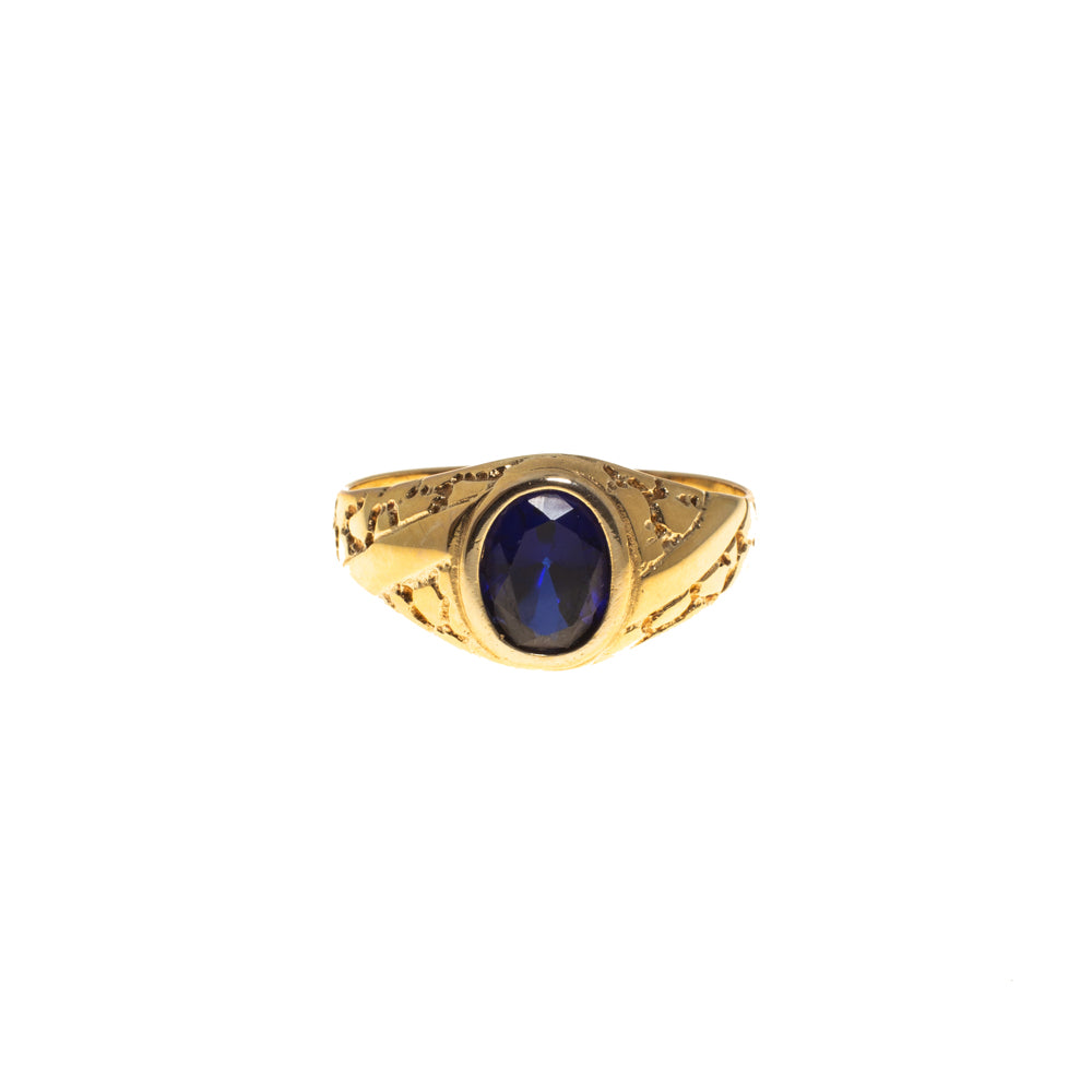 Pre-Owned 9ct Gold Gents Oval Blue Stone Ring