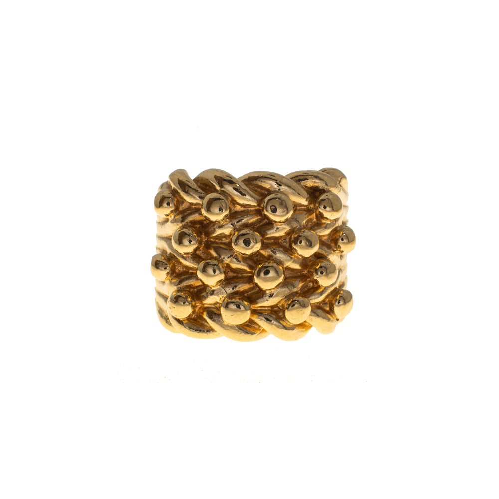Pre-Owned 9ct Gold 4 Row Shot Keeper Ring