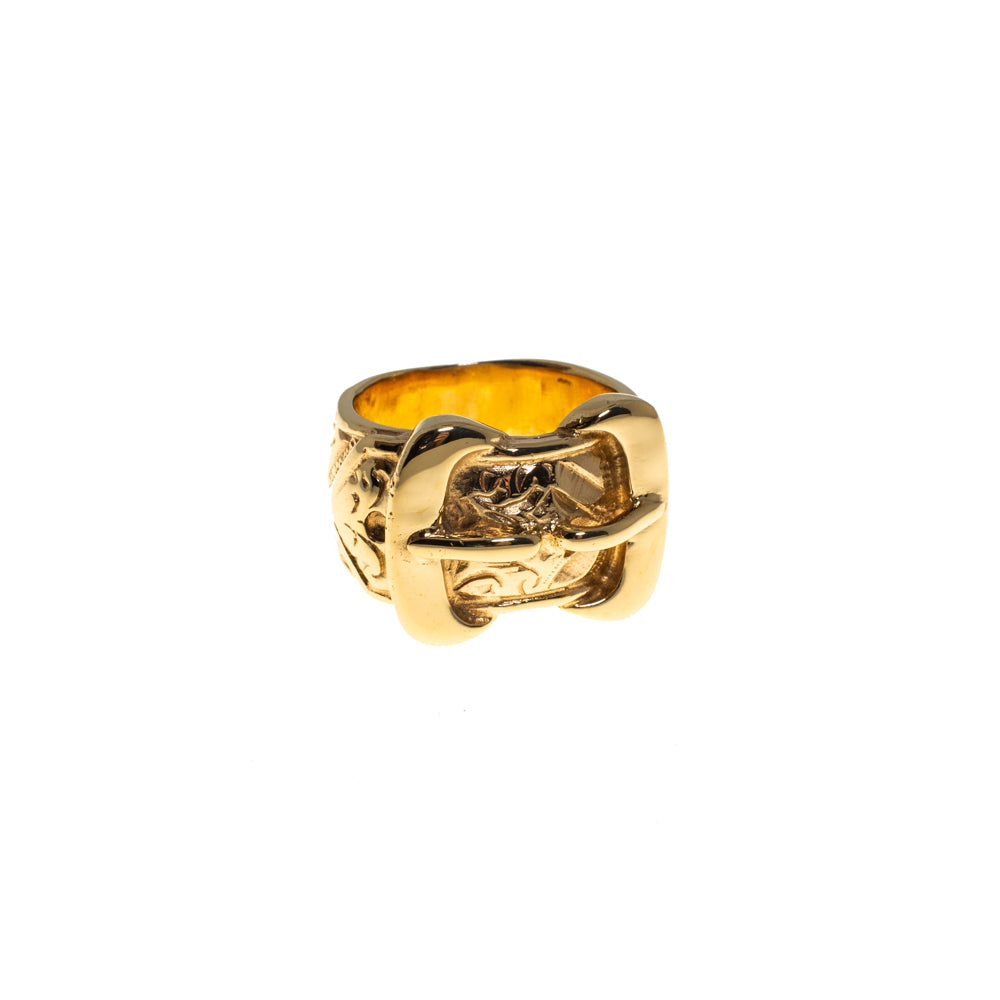 Pre-Owned 9ct Gold 18mm Double Buckle Ring
