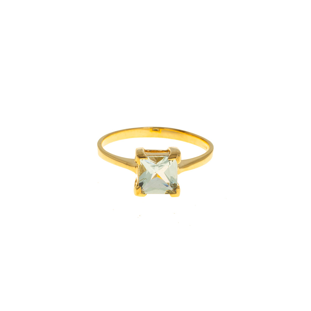 Pre-Owned Gold Square Cubic Zirconia Dress Ring