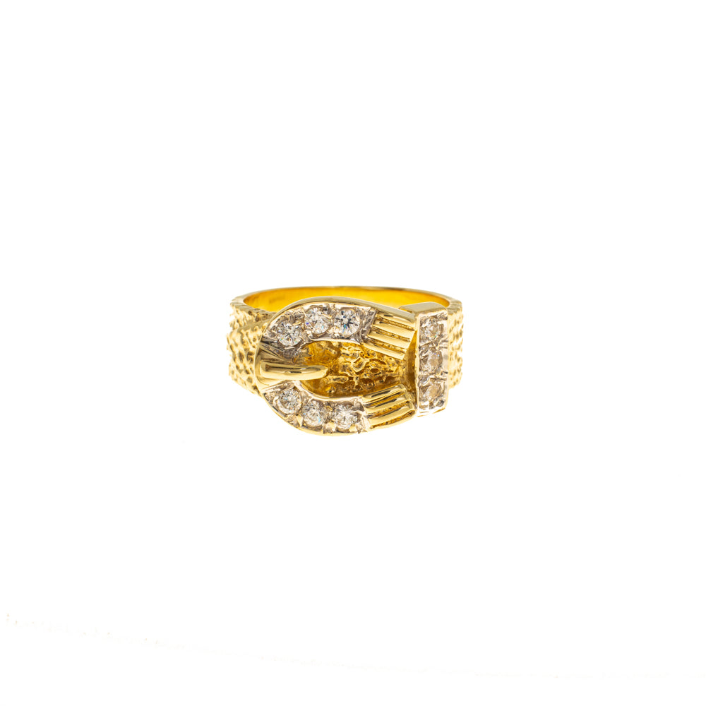 Pre-Owned 9ct Gold Cubic Zirconia 11mm Buckle Ring