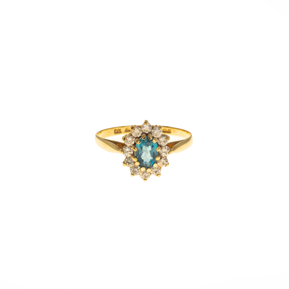 Pre-Owned Gold Oval Blue Stone Zirconia Halo Ring