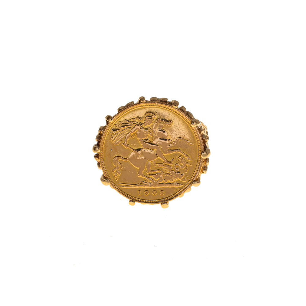Pre-Owned 1908 Half Sovereign 9ct Gold Ring