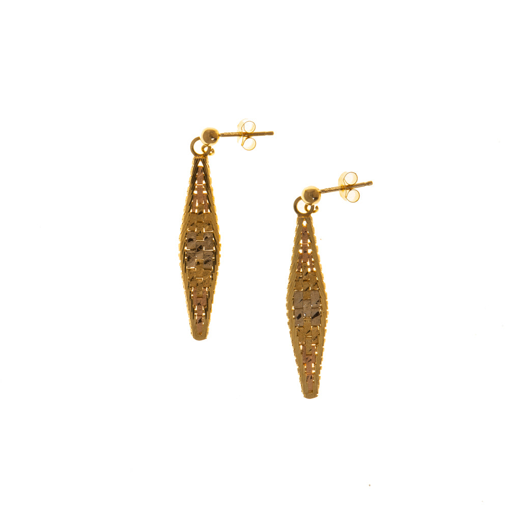 Pre-Owned Gold 3 Tone Brick Design Drop Earrings