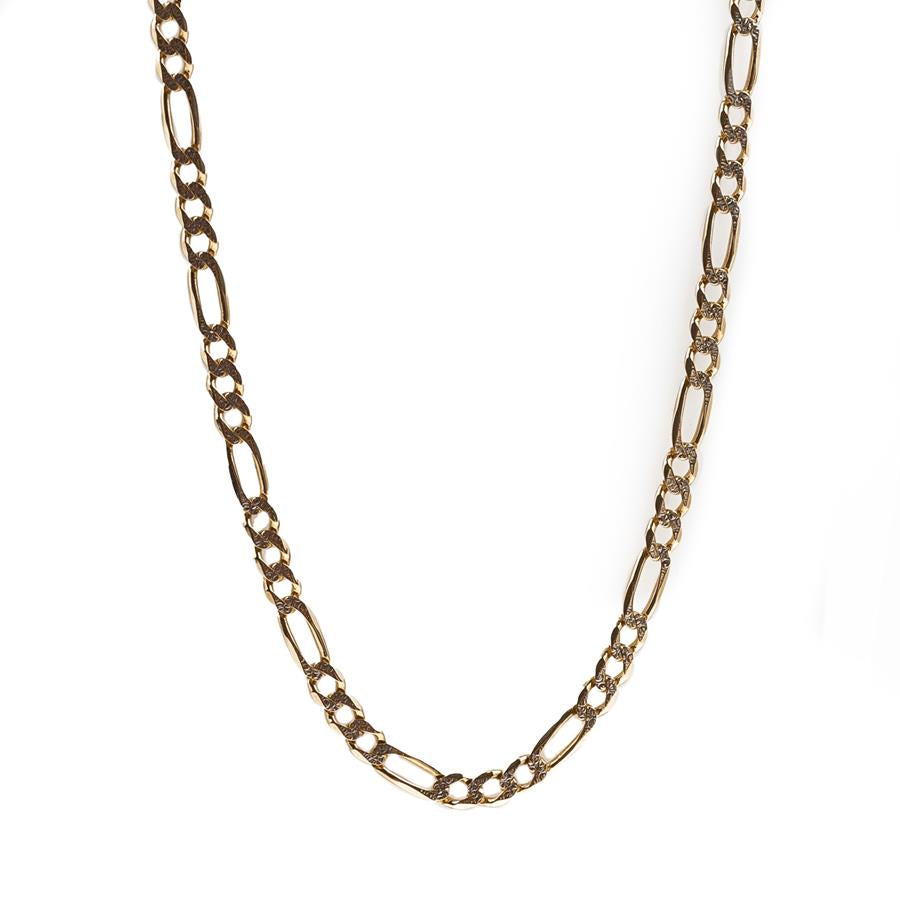 "Pre-Owned 9ct Gold 28"" Two Tone Figaro Necklace"