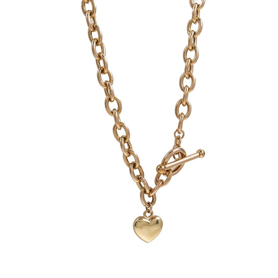 "Pre-Owned 9ct Gold 17"" Heart & T-Bar Necklace"