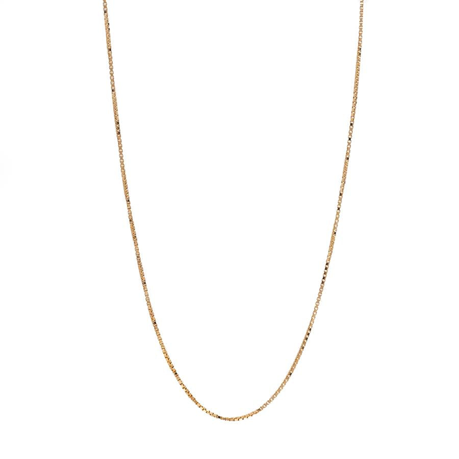 "Pre-Owned 9ct Gold 20"" Fine Box Link Necklace"